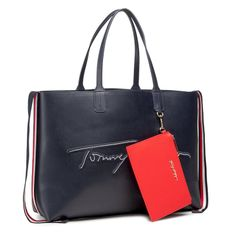 Torebka TOMMY HILFIGER - Iconic Tommy Tote Signature AW0AW09707 BLU