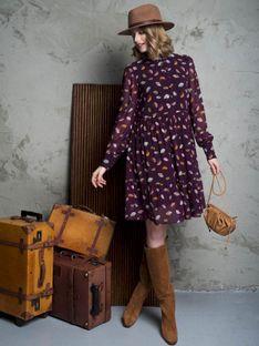 Rozkloszowana sukienka z motywem wachlarzy L`AF YVETTE