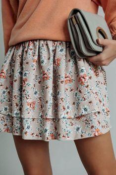 Spódnica z falbanami Bianco beżowa w kwiaty