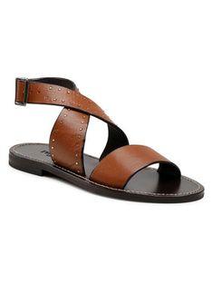 TwinSet Sandały Sandalo 211TCT050 Brązowy