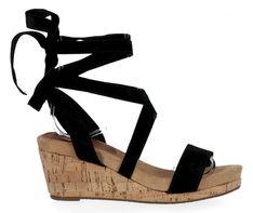 Firmowe sandały damskie na koturnie firmy Lady Glory Czarne (kolory)