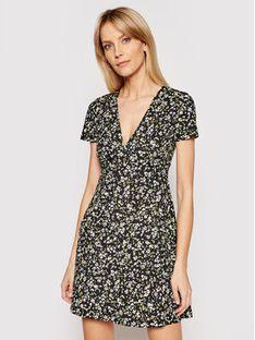 Tommy Jeans Sukienka letnia Flare Floral Print DW0DW10261 Czarny Slim Fit