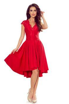Czerwona Wieczorowa Asymetryczna Sukienka z Koronką