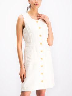 Tory Burch Sukienka letnia Linen Shift 53819 Biały Slim Fit