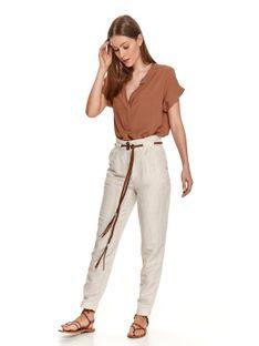 Lniane spodnie z plecionym paskiem
