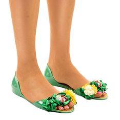 Zielone sandałki meliski z kwiatkami AE20