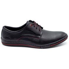 Lukas Skórzane buty męskie 295LU czarne z czerwonym czerwone