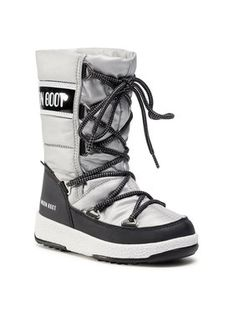Moon Boot Śniegowce Jr G.Quilted Wp 34051400006 M Srebrny