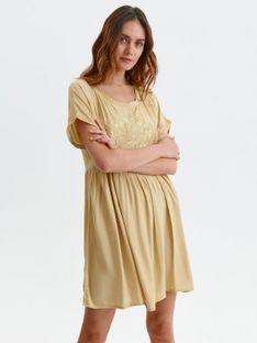 Luźna sukienka z kwiatowym haftem
