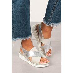 Sandały damskie Sergio Leone bez zapięcia ze skóry ekologicznej z niskim obcasem casualowe na koturnie