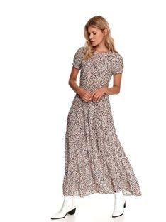 Sukienka maxi z paskiem, w drobny wzór
