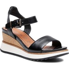 Tamaris sandały damskie ze skóry ekologicznej czarne na koturnie casualowe