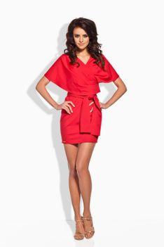 Czerwona Szlafrokowa Sukienka Mini z Szerokim Kołnierzem