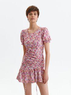 Krótka sukienka w kwiaty z falbaną