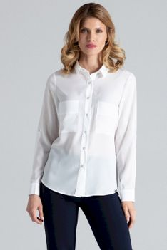 Ecru Klasyczna Koszula z Podpinanym Rękawem z Kieszeniami