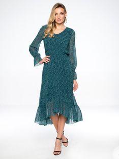 Sukienka z asymetryczną falbanką z motywem serc L`AF MAGNOLIA