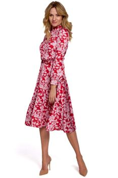 Czerwona Rozkloszowana Sukienka w Kwiaty ze Stójką
