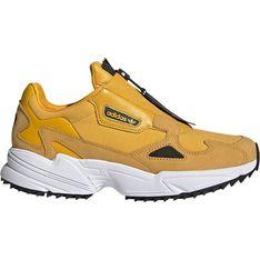 Buty sportowe damskie żółte Adidas młodzieżowe na zamek skórzane