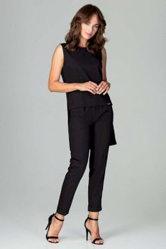 Czarny Komplet Bluzka +Spodnie z Wywijaną Nogawką