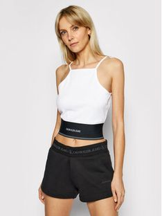 Calvin Klein Jeans Top J20J215708 Biały Slim Fit