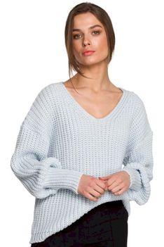Sweter V- Neck z Szerokim Ściągaczem - Błękitny