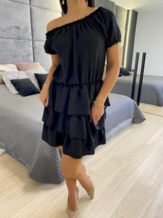 Czarna Sukienka z Falbankami 5894-92-B