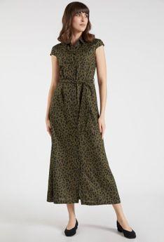 Wzorzysta sukienka maxi z paskiem