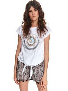 T-shirt damski z nadrukiem i wiązaniem