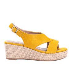 Musztardowe espadryle na koturnie Marina żółte