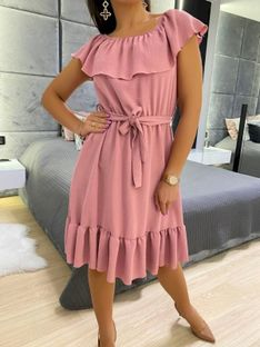 Pudrowa Sukienka Hiszpanka z Paskiem 5872-319-D