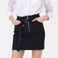 Sinsay - Spódnica jeansowa z paskiem - Czarny