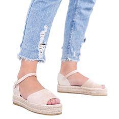 Beżowe sandały na platformie Pearl River beżowy