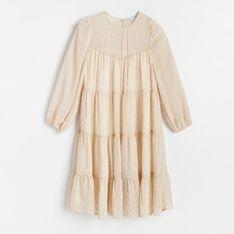 Reserved - Sukienka z lekkiej tkaniny - Kremowy