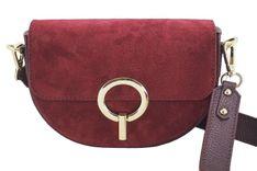Modna torebka wizytowa skórzana - Bordowa