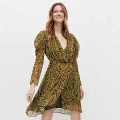 Reserved - Wzorzysta sukienka - Zielony