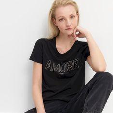 Mohito - T-shirt z błyszczącym napisem - Czarny