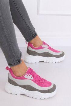 Adidasy na platformie różowe szare Fuzzy