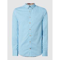 Koszula męska elegancka z długim rękawem z kołnierzykiem button down z tkaniny na wiosnę