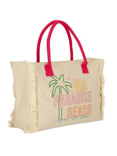 Materiałowa torebka plażowa z wakacyjnym printem Verde