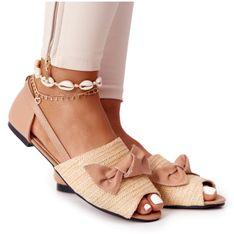 Płaskie Sandały Z Plecionką Lu Boo Beżowe beżowy