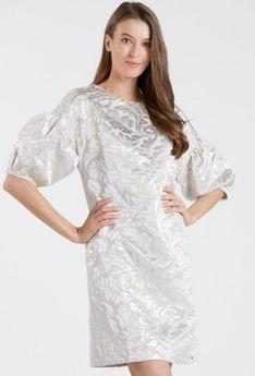 Żakardowa sukienka z bufiastymi rękawami