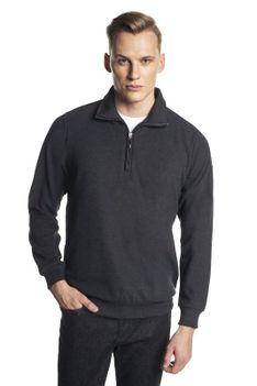 Sweter czarny ze stójką z zamkiem Tennis TRAM TR