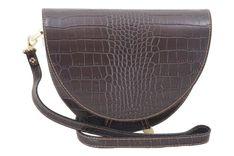 Wizytowa torebka listonoszka - CROCO - Brązowa ciemna