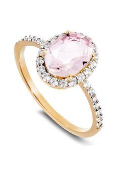 Gold by Di Giorgio - Pierścionek - Różowe złoto - 0,32 ct diament - kwarc różowy - różowozłoty
