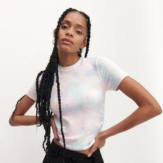 Reserved - T-shirt z efektem tie-dye - Wielobarwny