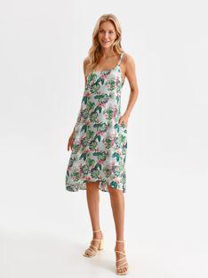 Luźna sukienka na ramiączkach w egzotyczny nadruk