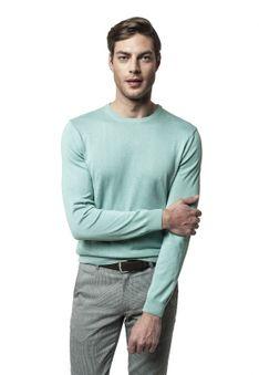 Zielony sweter z okrągłym dekoltem Recman MOULIN
