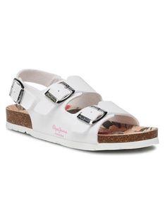 Pepe Jeans Sandały Bio Basic Buckles PGS90163 Biały