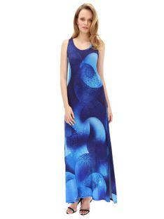 Długa sukienka w niebieskie wzory Desigual LENNY