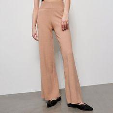 Reserved - Dzianinowe spodnie z szerokimi nogawkami - Beżowy